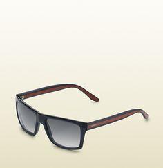 medium rectangle frame sunglasses with gucci logo o ...