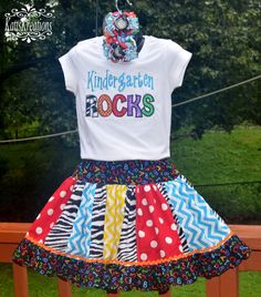 Kindergarten Rocks School OUtfit Applique SHirt Panel Ruffle Twirly SKirt and OTT Pigtail Bows