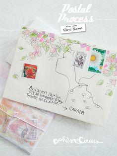 Envelope - Watercolors & masking tape by Bohème Circus Inspiration for… Envelope Lettering, Envelope Art, Letter Art, Letter Writing, Paper Art, Paper Crafts, Diy Crafts, Mail Art Envelopes, Decorated Envelopes