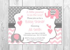 Pink and Grey Elephant Baby Shower Invitation, It's a Girl, Elephant, Chevron, Pink, Little Peanut, Baby Shower Invitation, Girl Baby Shower by PixiPrintables on Etsy
