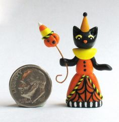 Miniature FOLK ART HALLOWEEN  BLACK CAT GIRL 1:12 scale Handmade OOAK - C. Rohal #CRohal