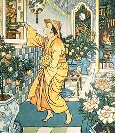 Walter Crane (1845 - 1915) artista inglés, realizó pinturas, ilustraciones, mosaicos, objetos decorativos. Participó del movimiento Arts and Crafts. Aladdins Lamp, Arabian Nights.