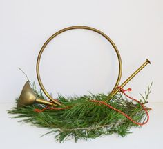 Vintage Brass French Horn Wall Hanging Christmas by JudysJunktion, $30.00