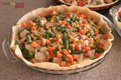 Easy Chicken Pot Pie  1 pkg. (2 crusts) Pillsbury Refrig Pie Crust  2 cans cr chicken soup  2 boneless skinless chicken breasts, cooked  cubed  1 bag frozen vegetables  Roll out thawed crust into pie dish. Place half of your chicken in bottom of dish, top with half your veggies and 1 can cream soup. Layer remaining ingredients. Top with additional pie crust; crimp edges to seal; cut vent holes in top crust; brush w/melted butter; bake on cookie sheet in a preheated 425 oven for 60-75 min.