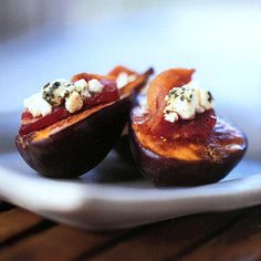 Goat cheese with bacon stuffed in a fig. !!!!!!!!!!        Fresh Figs with Bacon and Goat Cheese Recipe  at Epicurious.com