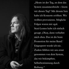 """""""Wir verharrten in einer Verweigerungshaltung. So kam nur drei Jahre später der Bankrott. Wie knallhart der Kapitalismus sein kann, war mir nicht klar, hatte ich doch vorher in einem synthetischen Wirklichkeitskindergarten gelebt. Insofern wurde es mit der Selbstbestimmung im Westen für mich nicht unbedingt einfacher. Der äußere Feind war weg, aber dafür verschwindest du hier einfach."""" Rex Joswig (52), Musiker, Berlin http://www.b1.de/Selbstbestimmung_DDR  #Selbstbestimmung #DDR #brandeins"""