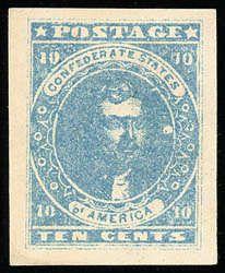 Confederacy, 1861, 10c Light Milky Blue, Stone Y. Showing colorless dot printing flaw to the right of portrait, o.g., lightly hinged, huge m...