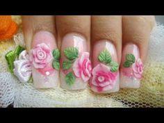 Como hacer rosas acrilicas en 3D relieve sobre uñas