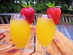 This is a recipe I found on the BigOven website.  Its a sweet update of the classic brunch drink with a tropical twist, replacing the standard orange juice with passion fruit juice.