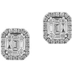 Effy Classique Diamond and 14K  Stud Earrings ($1,575) ❤ liked on Polyvore featuring jewelry, earrings, white gold, 14k earrings, art deco diamond earrings, diamond stud earrings, fine jewelry and stud earring set
