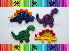 Dinosaur crochet appliques. Link to pattern here: www.ravelry.com/...