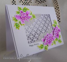 Handcrafted by Helen: Peony scroll simple and fancy