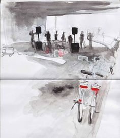 Oona Leganovic / Ink, pencil and watercolor wash sketchbook, mostly of commuters (2011)