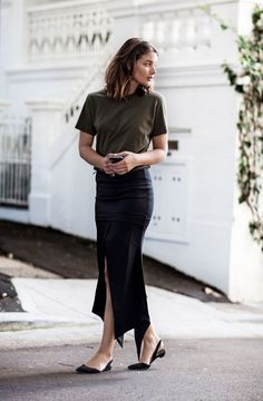 Wearing: Scanlan Theodore khaki t-shirt, Maurie and Eve black skirt, Paul Andrew flats If you've systematically checked off accumulating a couple of black, white and grey t-shirts, then the next neut