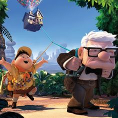 """Pixar power: Russell the Boy Scout and old man Carl Fredrickson haul a helium-lightened house in """"Up."""" A new film from animation studio Pixar is usually a time when film critics are enjoying their jobs the most. Rick Astley, Funny Shit, The Funny, Hilarious, Funny Stuff, Best Of Tumblr Funny, Funny Geek, Beau Film, Hilarious Pictures"""
