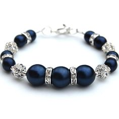 Navy Pearl and Rhinestone Bracelet Midnight Blue by AMIdesigns, $22.00
