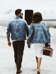 Give 'em the Finger Jean Jacket for him and her. The perfect pieces of denim for husband and wives or a bride and groom to be. Painted Denim Jacket, Painted Jeans, Distressed Denim, Hand Painted, Jean Jacket Outfits, Denim Jacket Men, Denim Jackets, Jean Jackets With Patches, Denim On Denim