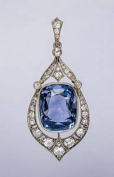 -Rare 12.47 Ct Ceylon Sapphire and Diamond Art Deco Pendant. $28,500