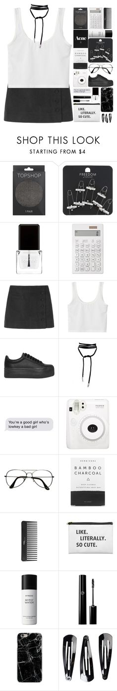 """school outfit"" by anabelisstyle ❤ liked on Polyvore featuring Topshop, Context, Muji, Jeffrey Campbell, Lamoda, ZeroUV, Herbivore, Sephora Collection, Byredo and NLY Accessories"