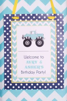 Monster Truck Birthday Party personalized welcome by sing- looks cute on the dessert table or front door. monster jam