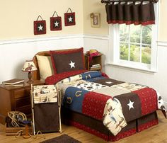 The Wild West Cowboy Kids Bedding - 4 Piece Twin Set by Sweet Jojo Designs will have your little boy dreaming of a home on the range in his unique Twin Comforter Sets, Queen Size Bedding, Bedding Sets, Baby Bedding, Sports Bedding, Queen Quilt, Kids Twin Size Bed, Cowboy Bedroom, Cowboy Nursery