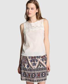 Top de mujer Only blanco con crochet