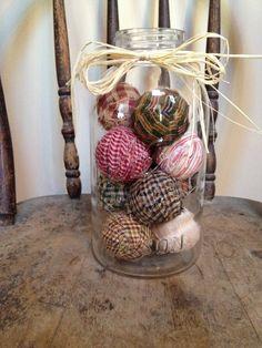 Primitive Decor  rag balls in large vintage by PrimitiveVillage, $22.99