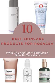 10 of the best skin care products for rosacea to reduce redness and inflammation. Creams, serums, cleansers + rosacea skincare tips & anti-aging products! Redness On Face, Anti Redness, Skin Care Treatments, Best Skincare Products, Best Face Products, Beauty Products, The Ordinary Skincare Routine, Face Routine, Beauty Makeup