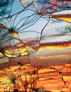 Sunset photos taken through broken glass