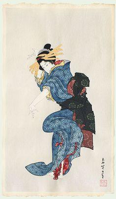 Dancing Beauty by Hokusai (1760 - 1849)