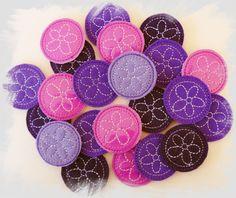 Flower Feltie Circles In The Hoop (ITH) Machine Embroidery Design, For Felt or Glitter Vinyl