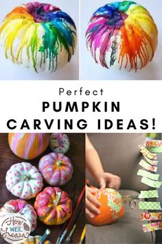 These fun, spooky halloween pumpkin carving ideas are great for kids, teens and everyone in between. Mess-free, no carve pumpkin decorating inspiration for toddlers as well! Easy Pumpkin Carving, No Carve Pumpkin Decorating, Spooky Halloween, Halloween Pumpkins, Wacky Hair, Carving Designs, Pumpkin Faces, Kids Learning Activities, All Kids