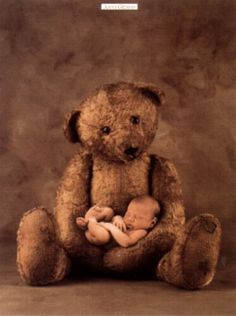 anne geddes - Not only is the baby adorable, but with the bear this photo is 10x more precious.