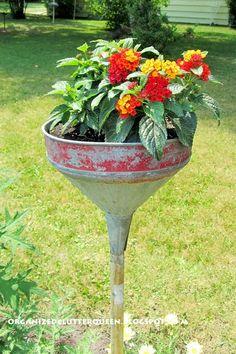 Junk Garden Funnels www.organizedclutterqueen.blogspot.com