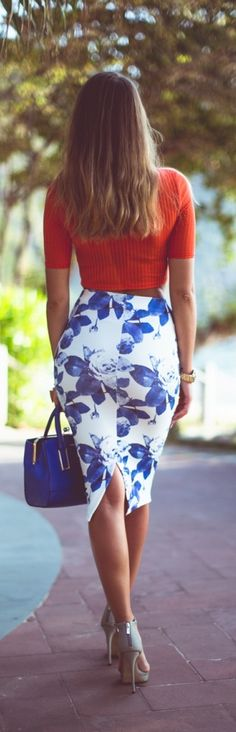 Sexy pencil skirt with crop top