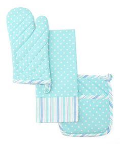 Take a look at this Blue Polka Dot & Stripe Pot Holder Set by Design Imports on #zulily today!