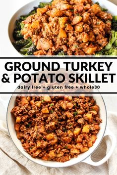 Ground Turkey & Potato Skillet Wondering what to make for dinner? Quickly throw together this hearty one pot meal of turkey and potatoes! Serve over roasted veggies, traditional rice, or cauliflower rice for a healthy and satisfying dinner.
