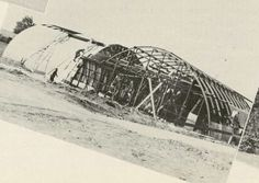 Quorant Huts being built on campus to provide housing for the increasing student body 1946. From the 1947 Oregana (University of Oregon yearbook). www.CampusAttic.com