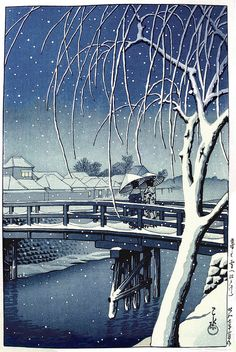"Art Museum 'Evening Snow at Edo River' 1932 woodblock print by Hasui Kawase Hasui Kawase – Prominent Japanese painter of the late and early centuries, and one of the chief printmakers in the shin hanga (""new prints\"") movement. Art Asiatique, Art Japonais, Japanese Painting, Japanese Artwork, Japan Art, Japan Japan, Art Graphique, Japanese Prints, Woodblock Print"