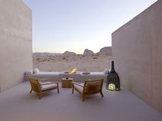 """Opened in 2009 in the center of the Grand Circle, this resort, designed to blend into the landscape, is located on a perfect-scoring 600 acres surrounded by the Grand Canyon, Monument Valley, and Grand Staircase-Escalante. """"It's understated but absolute luxury in the desert."""" Entry to each """"spare but very comfortable"""" suite is via a private courtyard with a Douglas fir timber screen; inside, white stone floors and concrete walls complement rawhide furniture with natural t..."""
