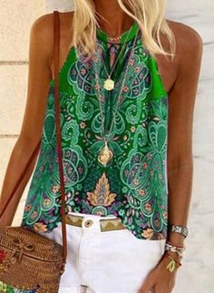 Boho Tops, Casual T Shirts, Casual Wear, Cheap Tank Tops, Ethnic Print, Basic Tops, Mode Outfits, V Neck Tops, Sleeveless Blouse