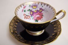 Vintage Black Royal Albert English Bone China Cup and Saucer | eBay