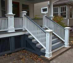 65 deck stairs to patio front porches ideas 15 Porch Steps, House With Porch, House Exterior, Front Porch Railings, Porch Design, Front Porch Steps, Porch Remodel, Porch Stairs, Porch Railing