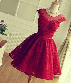 Shop discount Elegant Cap Sleeve Illusion Knee Length Keyhole Bridesmaid Dress WNBD0772