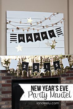 Love the gold spray painted Christmas lights and cute #freeprintable #NewYears banner via @PagingSupermom