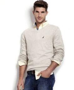George - Nautica Sweater, V Neck Solid Sweater - Mens Sweaters - Macy's w/ denim jeans