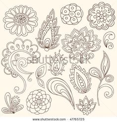 Hand-Drawn Abstract Henna Paisley