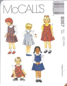 8367 UNCUT Vintage McCalls SEWING Pattern Toddler A Line Jumpers OOP FF NEW SEW #McCalls