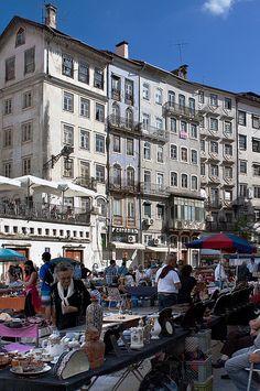 Saturday flea market on Praça do Comércio - Coimbra, Portugal