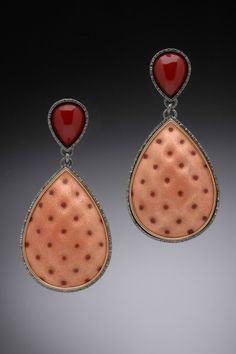 Drops by Tricia Harding, Earrings; copper, torch-fired enamel, oxidized sterling silver, 14K gold